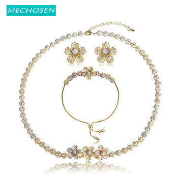 MECHOSEN Wedding Flower Necklace Earrings Bracelet Sets 3 Tones Brass Romantic Engagement Dress dubai jewelry sets lima peru bts