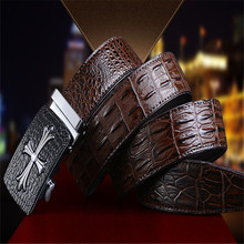 Men's automatic belt Cross logo Alloy Buckle Crocodile First layer of leather width 3.5CM Designers high quality famous brand