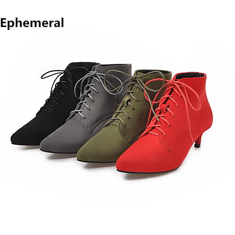 Heel Boots Lace-Up-Shoes Pointed-Toe Thin Black Green Plus-Size Winter Women Ladies Pu