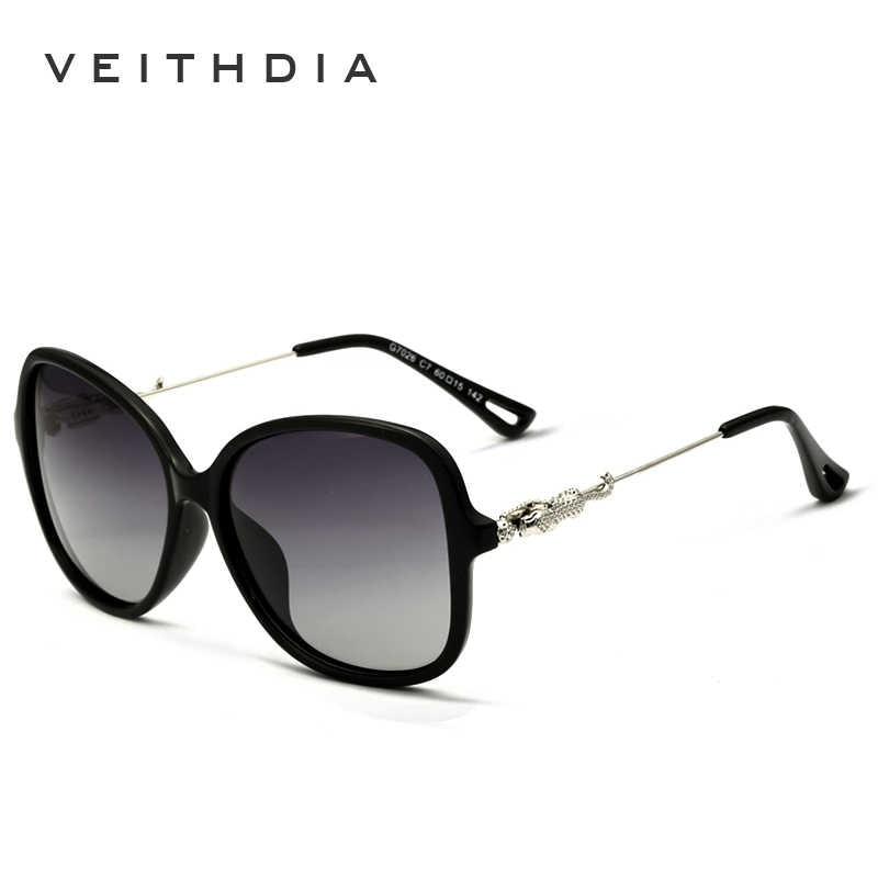 Veithdia Leopard Merek Retro TR90 Wanita Berjemur Kacamata Terpolarisasi  Ladies Designer Kaca Mata Kacamata Aksesoris untuk 17522c1809