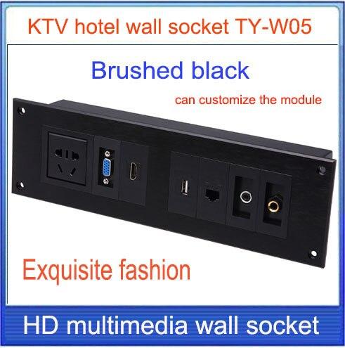 Prise murale \ HD HDMI \ VGA USB réseau RJ45 panneau de prise d'information vidéo/multimédia accueil chambres d'hôtel KTV prise murale TY-W05