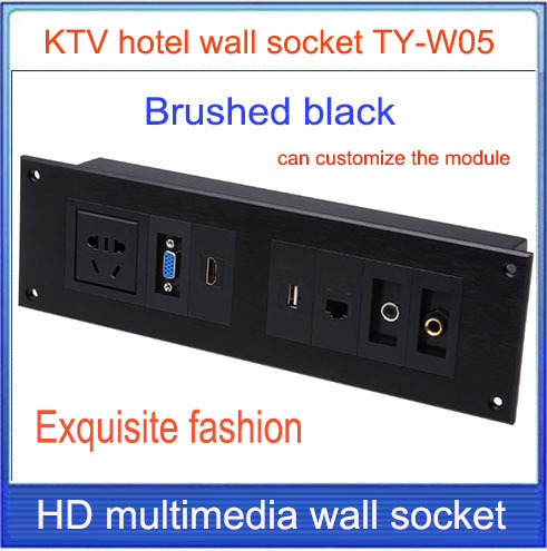 wall socket \ HD HDMI \ VGA USB NETWORK  RJ45 Video information outlet panel /multimedia home hotel rooms KTV wall socket TY-W05 information searching and retrieval