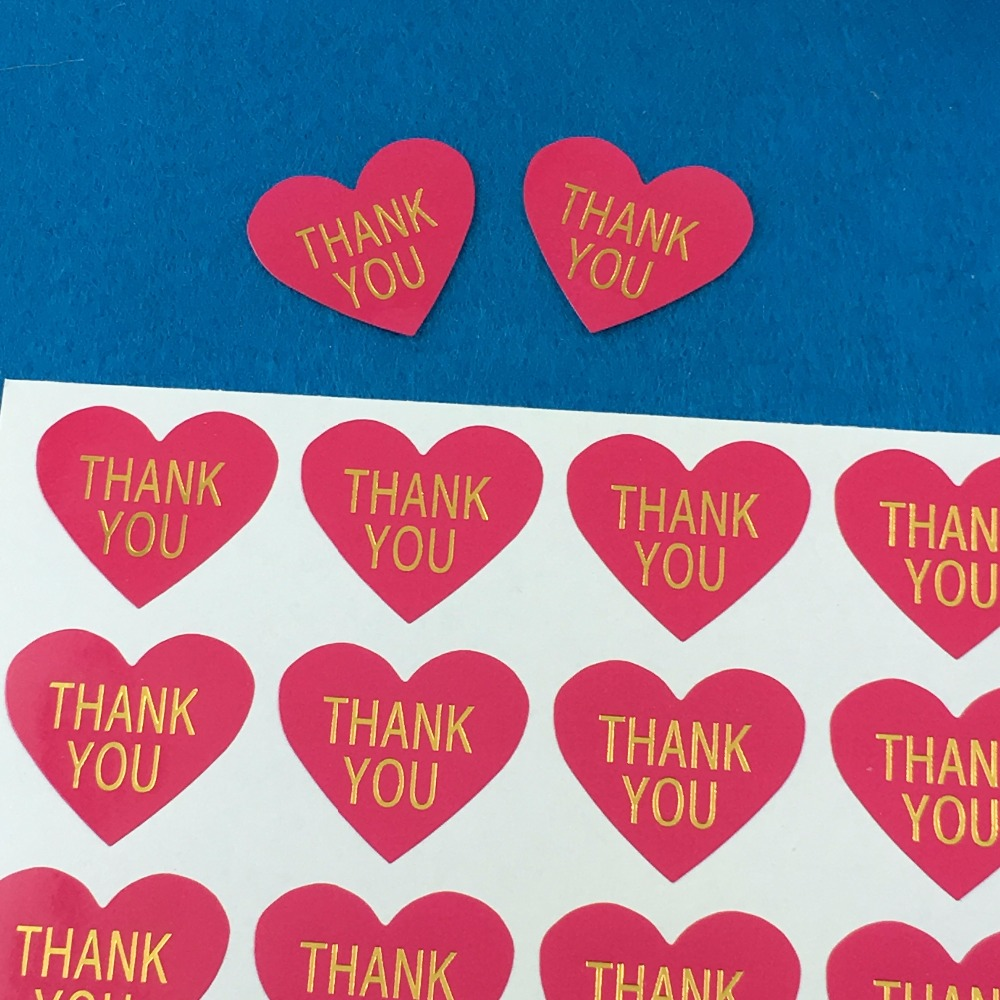5000PCS/Lot Fashion heart-shaped printedTHANK YOUpaper Labels sealing Stickers packaging For Jewelry/Box/gift/car/envelope