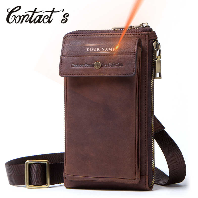 Contact's Genuine Leather Waist Packs Zipper Belt Bag for Man Phone Pouch Bags Vintage Travel Waist Bags Men with Passport Cover