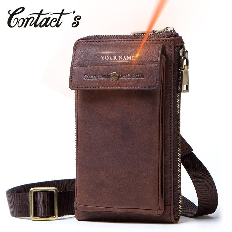 Мужские поясные сумки из натуральной кожи Contact