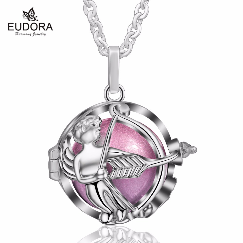 Eudora Harmony Ball New Angel Cage Pendant with 20mm Chime Ball Baby Sound Mexcain Bola Pendant Jewelry for Mother