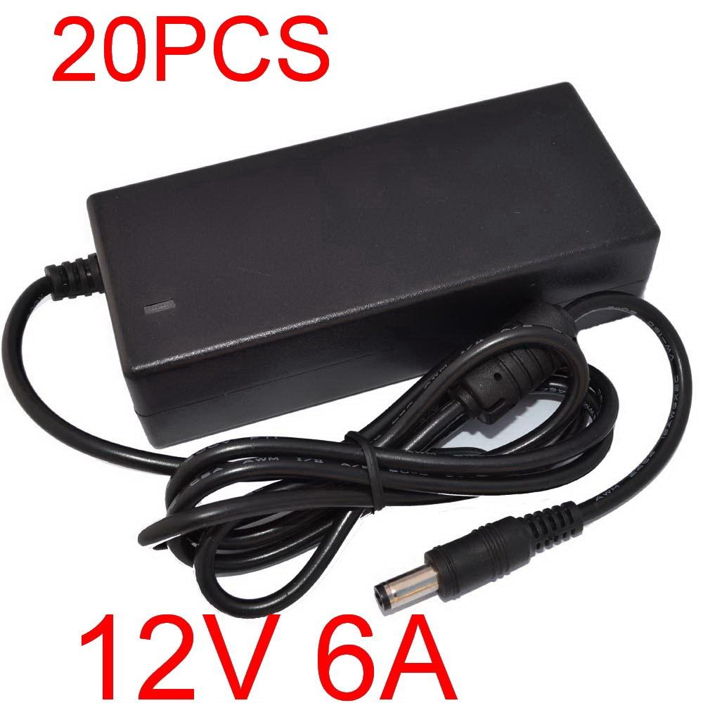 20pcs New 12V6A AC 100V 240V Converter Adapter DC 12V 6A 72W Power Supply DC 5