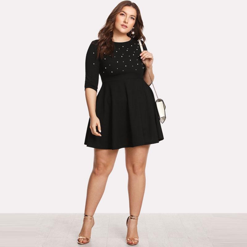 Black Round Neck Spring Dress Plus Size