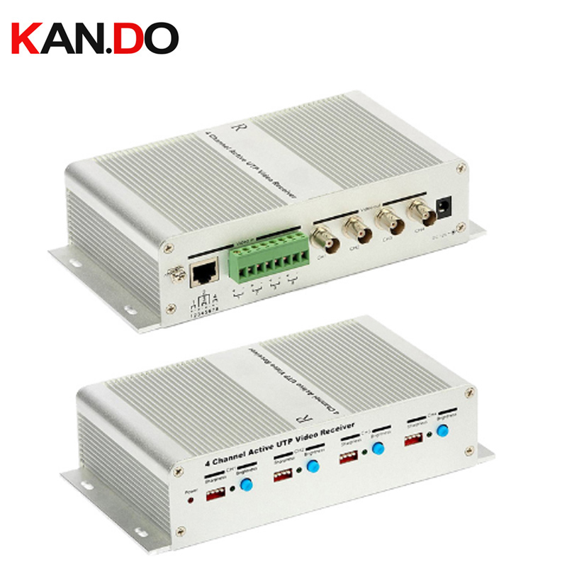 4 Channel Active Power Video Balun Transmission 4 Ch Active Video Receiver Video Balun Hub Twisted Pair Female BNC TX+RX