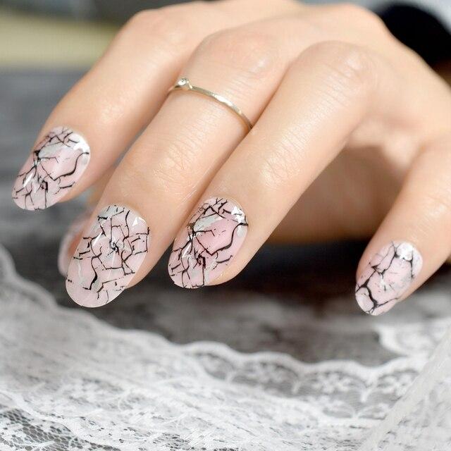 Light Pink Artificial Nail Art Marble Deisgn Kit Medium Uv Gel Fake