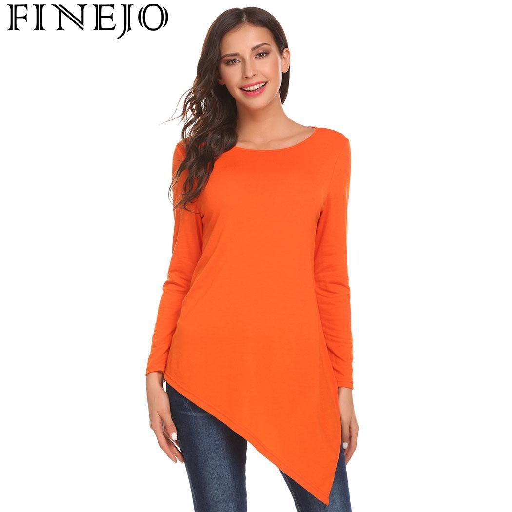 FINEJO Для женщин футболка асимметричный с круглым вырезом и длинными рукавами Разделение низ Повседневное свободный крой туника Топ пуловер,...