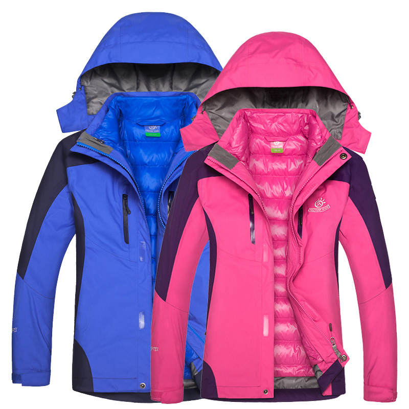 New Winter 3 in 1 Kids Hiking Jackets Children Boys Girls Waterproof Thermal Two-piece Down lining Coats Hiking Skiing 120-160