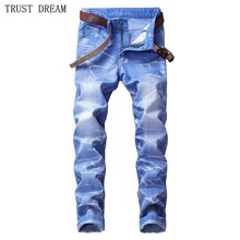 Fashion European Style Men Print Slim Light Blue Denim Pencil Pant Washestoned Man Causal Street Club Personal Plus Size Jeans