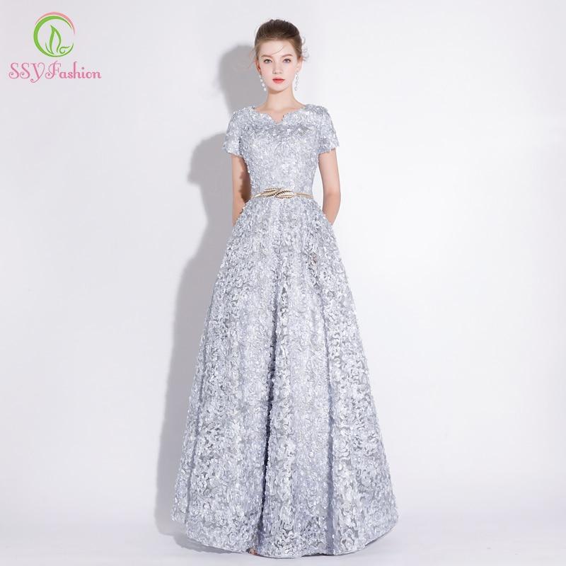 SSYFashion Banquet Elegant Evening Dress Simple Grey Lace Floor ...