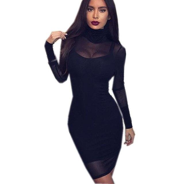 a69efa872c3 Сексуальная Черная Водолазка Женщины Одеваются Мода See Through Длинным  Рукавом Две Пьесы Набор Мини-Платье