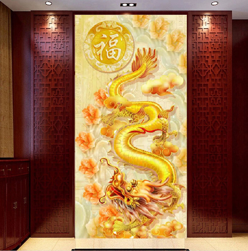 Golden Dragon and Peacocks DIY Diamond Painting Cross
