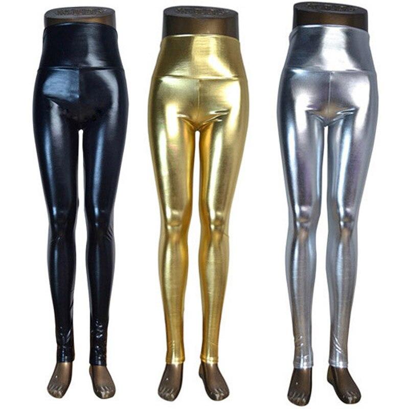 DISSIMILAR High waist Shiny Wet Liquid Look PU Faux Leather Metallic Stretchy Leggings Sexy Dance Pants Disco leggins 5 sizes