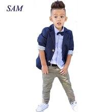 Костюм джентльменский из трех предметов, куртка + рубашка + брюки, модная одежда для детей на весну и осень, 2020