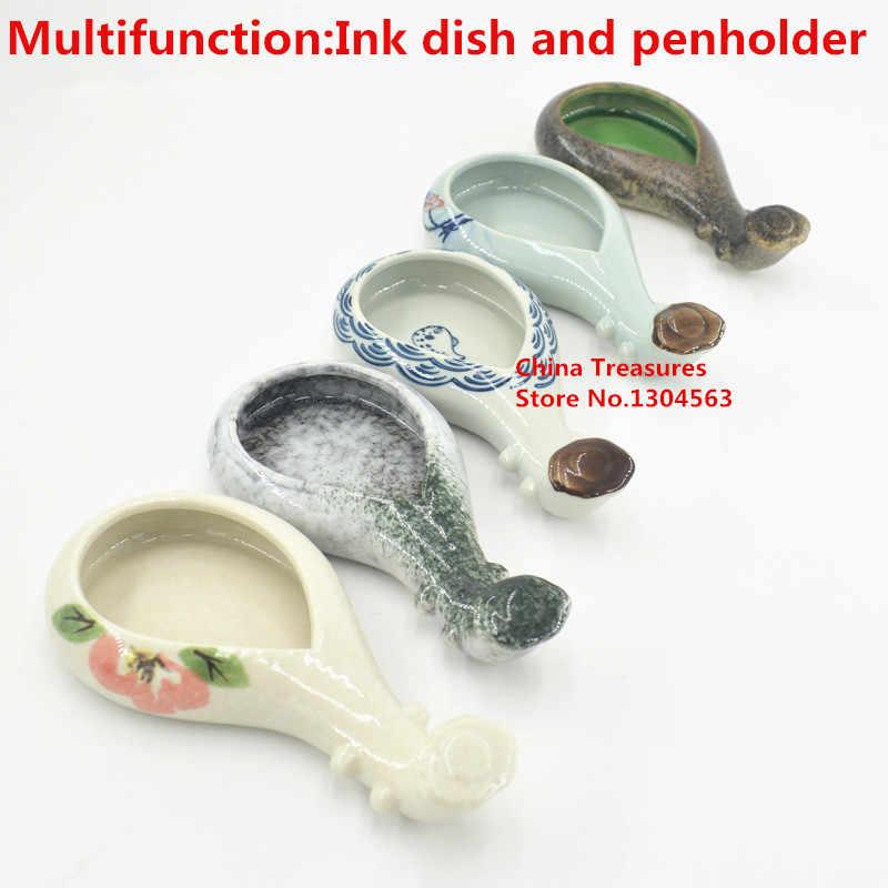 1 pezzo, di Ceramica Piatto Inchiostro Cinese Pennello Portapenne Piastra Vernice Scuola di Arte del chiodo Forniture