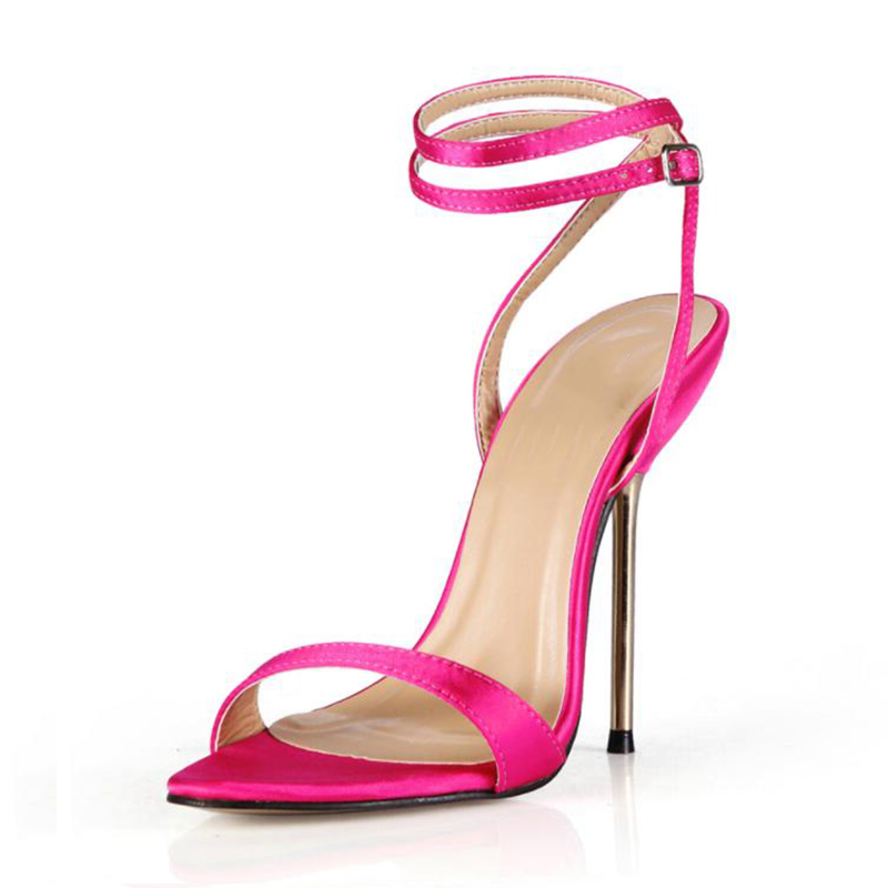 Heel sandals Models walk in stilettos with metallic straps <font><b>10</b></font> cm 12 cm high party shoes image