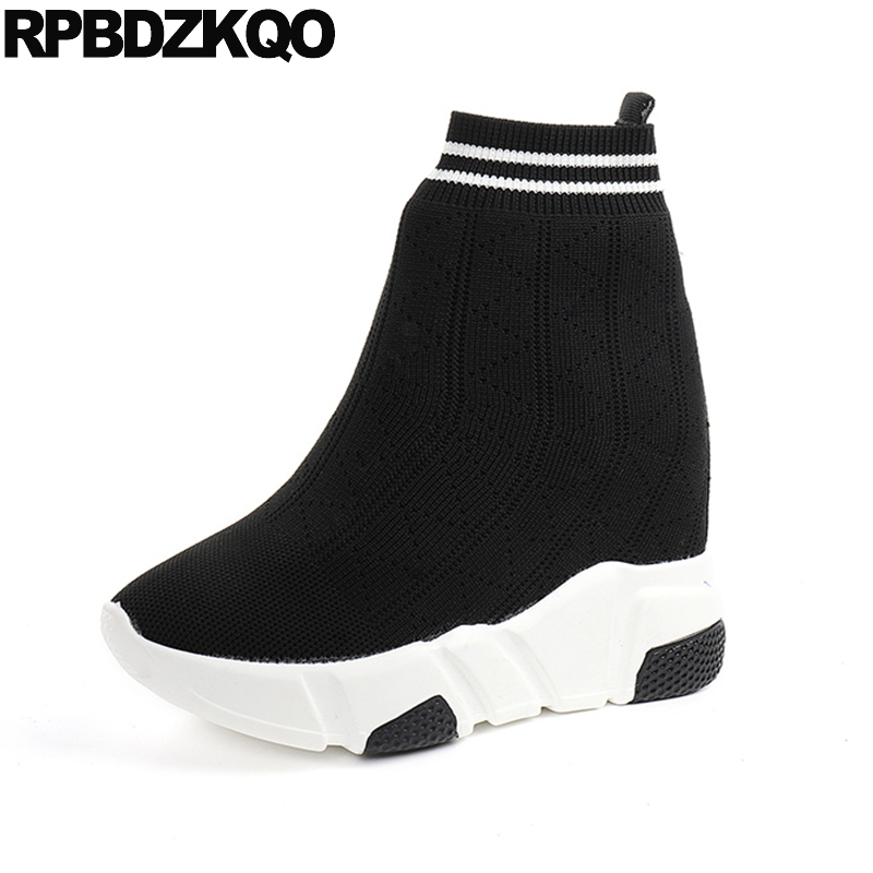 Sock Ankle Shoes Women Boots 2016 Round Toe Casual Elevator Booties Platform Black Flat Muffin Slip On Knit Ladies Fashion New muffin wedge high heel stretch women extreme fetish casual knee peep toe platform summer black slip on creepers boots shoes