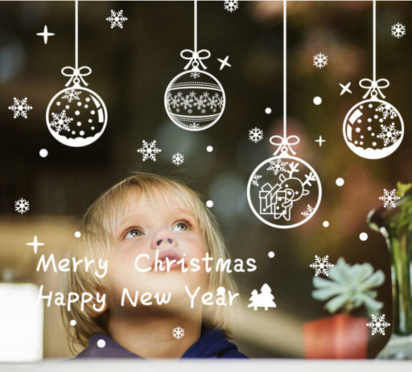 Decalcomanie vetrina Natale rimovibile Merry Chritmas Happy New Year - Per vacanze e feste