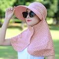 НОВАЯ МОДА Солнцезащитный Крем Шляпа Покрыты Лицо Женской Летнего Путешествия Отдых Складной Шляпа Солнца женская Складная Открытый Защита От УЛЬТРАФИОЛЕТОВЫХ ЛУЧЕЙ