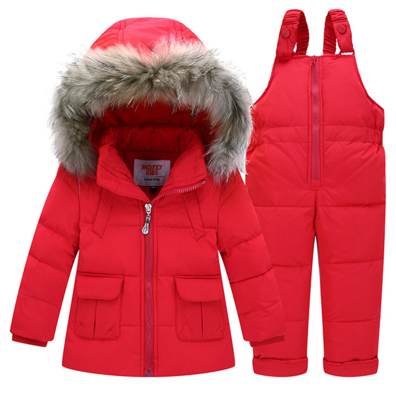 1-4 Years Kids Winter Thicken Clothing Set Child Boys & Girls Down Jacket and Pants Set Fashion Fur Collar Hooded Children Set rounded collar shimmer jacket and skirt set