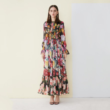 Chic womens long dress 2019 spring summer floral print sleeves chiffon elegant princess G099