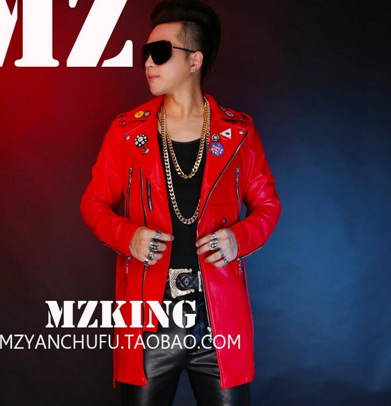 S-5XL! Hommes nouvelle mode DJ rouge longue Locomotive en cuir veste manteau chanteur costumes robe formelle grande taille vêtements