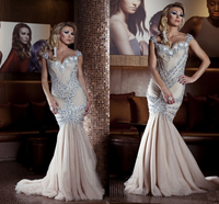 Unique Design Full Crystal Beads Mermiad Evening Prom Gown Sexy Floor Length Wedding Party Dress