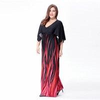 2017 Women Big Size Fat MM Elegant Print Dress Summer Female 6XL Plus Clothing Dresses Large