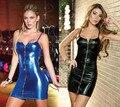 Высокое Качество женщины ночной клуб платье сексуальная искусственная кожа металлическая застежка-молния холодный плотный черный синий подтяжки платье клуба одежды SU085