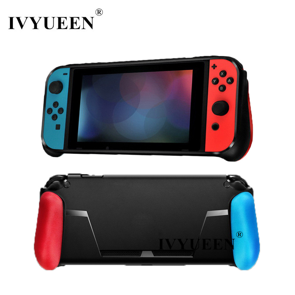 IVYUEEN for Nintend Switch Console Protective Soft Case with Game Card Slot Handle Grips for Shock-Absorption and Anti-Scratch nintend switch ns soft tpu grip case ergonomic anti scratch shock absorption protect cover holder for nintendos switch console