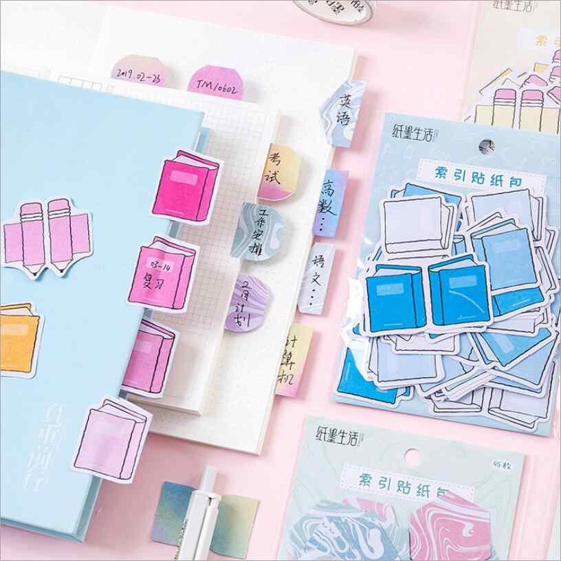 45 Sheets/lot Cute Paper Page Flags Sticky Notes Tabs Planner Stickers Notepad Memo Pads Stationery Bookmark Rainbow