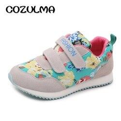 COZULMA wiosna zima dzieci kwiatowy wzór trampki chłopcy dziewczęta obuwie oddychające dzieci Hook & Loop płaskie sportowe buty