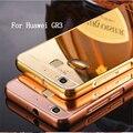 Para espejo de lujo case para huawei huawei gr3 gr5 gr 3 gr 5 ultra baba de la contraportada + marco de metal 2 en 1 teléfono celular protectora shell