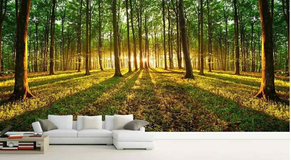 Custom 3d Wallpaper Sunshine Forest Landscape Backdrop Living Style Wallpaper 3d Wallpaper For Room