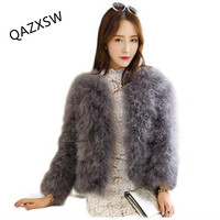 QAZXSW Hot Sale New Women Winter Short Slim Thick O Neck Full Sleeve Single Breasted Solid Ostrich Feather Faux Fur Coat LJ464