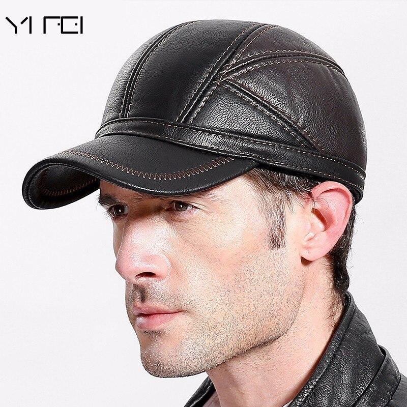 2019 Winter   Baseball     Cap   For Men Leather Warm Hats Casquette Men Snapback Dad Hat Adjustable Hip Hop   Caps   Bone Gorras