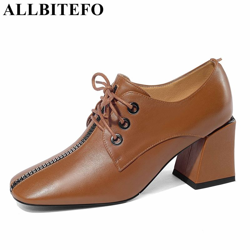 ALLBITEFO Size:34-41 Full Genuine Leather Square Toe Thick Heel Women Pumps Spring Women High Heel Shoes Office Ladies Shoes