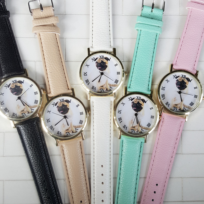 Korean Trend New Cute Little Dog Leather Band Watch,female Skin Color Neutral Students Watch Women Dress Geneva Quartz Watch Lover's Watches
