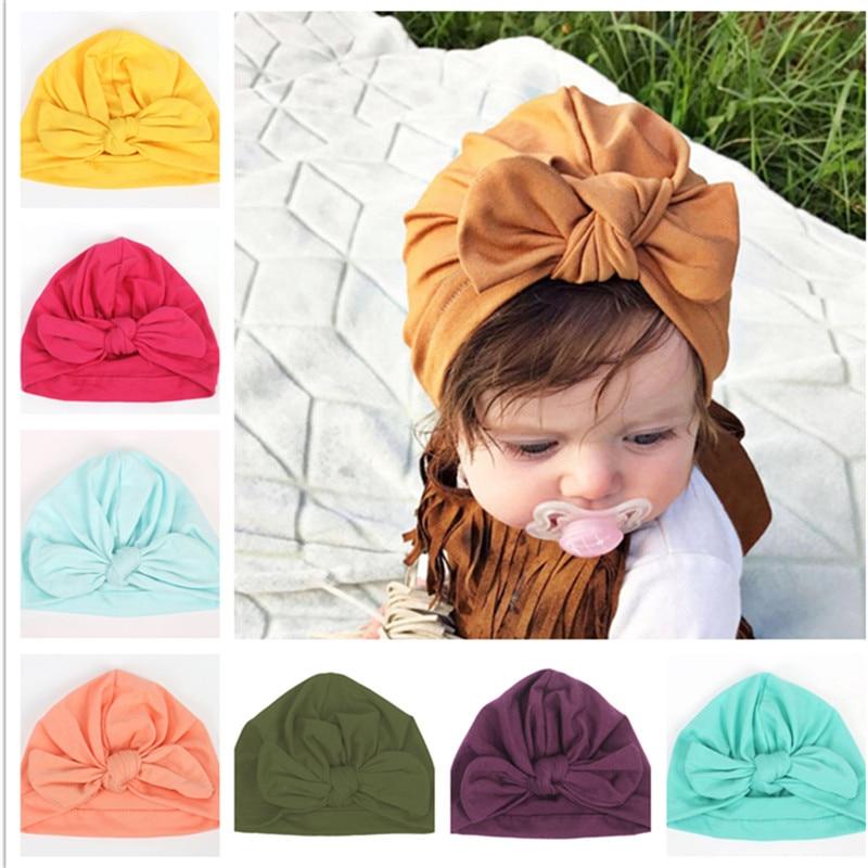 1pcs 2018 New Bebe Girls Boys Soft Bows Turban Rabbit Ear Knot Cap Beanie Hat Muslim India Hat Bohemian Bowknot Turbans Cap