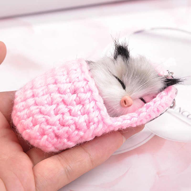 Lại Ngủ Dễ Thương Pompom Móc Khóa Trên Túi Quyến Rũ Lông Thỏ Giả Móc Khóa Handmade Cho Giày Mèo Con Chìa Khóa Ô Tô nhẫn A284