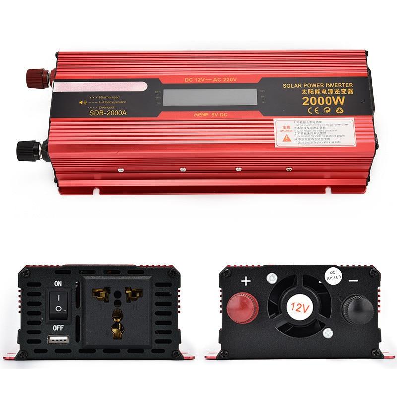 Peak Power 2000W 220V 50HZ Modified Sine Wave Inverter with LCD Display DC 12V/24 to AC 220V Car Inverter Solar Power Converter