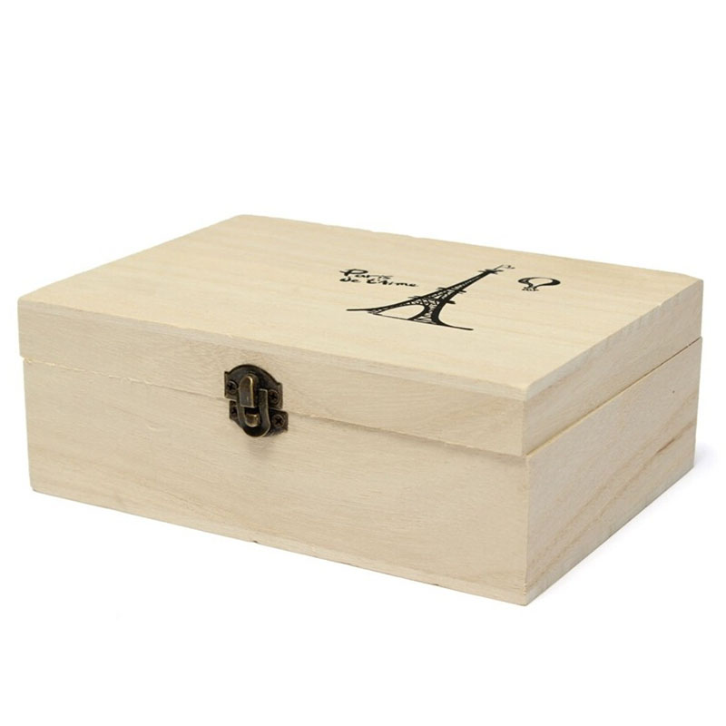 Useful home storage box natural wooden with lid golden for Craft storage boxes with lids