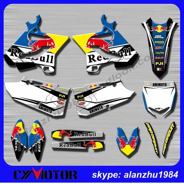HIGH PERFORMANCE RED YZ125 YZ250 YZ250X 2015 2016 3M BULL 88 TEAM GRAPHICS DECALS STICKERS KITS  RACING OFF ROAD MOTORCYCLE