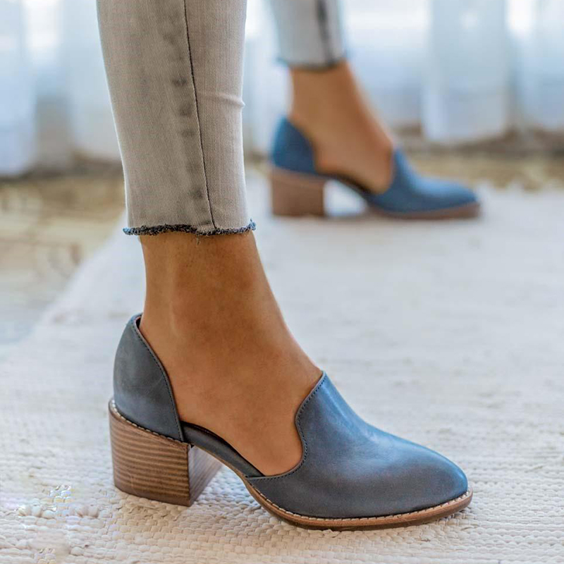 EOEODOIT Spring Autumn Leather Pumps Women Med Chunky Heel Shoes Slip On Pointed Toe Casual Plus Size Female Shoes (Large 1 Size