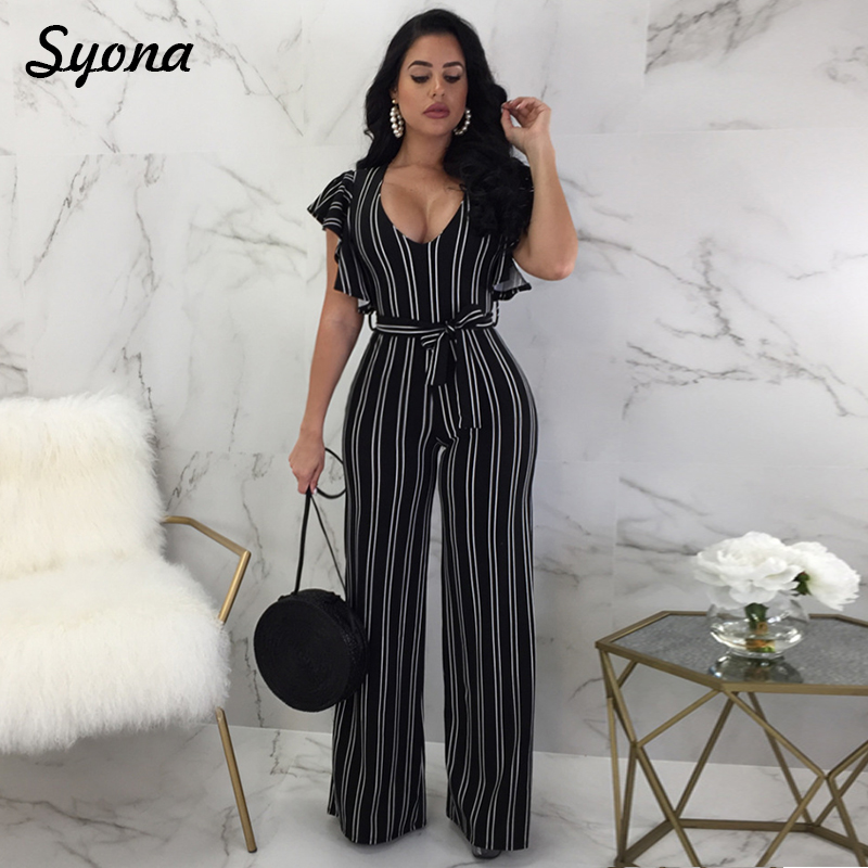 WOMENS   JUMPSUIT   ROMPERS STRIPED Wide Leg Pants Elegant Ruffles Overalls Office Work Long Trousers Female Casual Summer Clothing