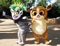 OISK Custom King Julien and Mort Mascot Costume Plush Cartoon Character Costumes Outfits Halloween Christmas Fancy Dress